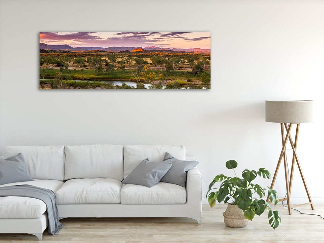 Finke River Sunset Landscape Photograph in Living Room