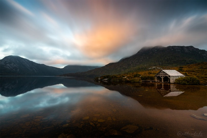 Cradle Mountain Sunrise - Dove Lake - Boat House - Matthew Duke - Web - National Park - Dove Lake Boat House