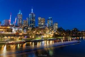 City Lights - Melbourne Federation Square Yarra River Night Lights