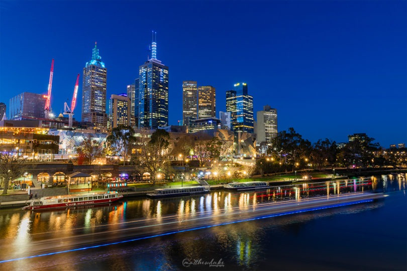 City Lights - Melbourne Federation Square Yarra River Night Lights